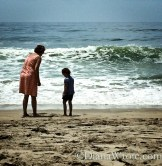 My mom and Bella waiting for waves.