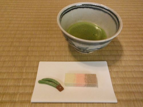Green tea and Japanese sweets.