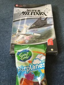 Kai's presents: lollies airplanes and 3D airplane puzzles.