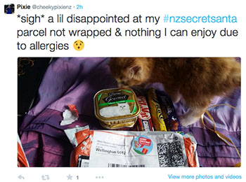 """Tweet by Pixie: """"*sigh* a lil disappointed at my #nzsecretsanta parcel not wrapped & nothing I can enjoy due to allergies"""""""