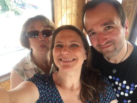 Inge, Kai and Diane on the ferris wheel in Vienna.