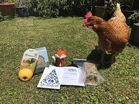 Ingrid the chicken on the front lawn with her presents as listed in the bullet list below.