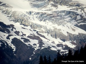 Zoomed in view of a Mount Baker glacier