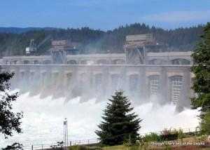 View of the Bonneville Dam spillway