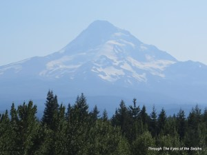 Zoomed in view of Mt Hood from the north side
