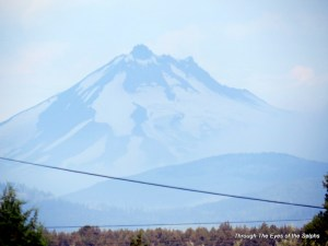 A zoomed view of Mt Jefferson from our campground
