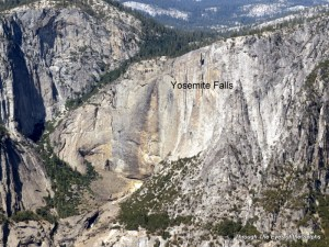 In the spring Yosemite Falls runs off the mountainside