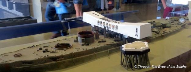 Display of what the USS Arizona looks like underwater
