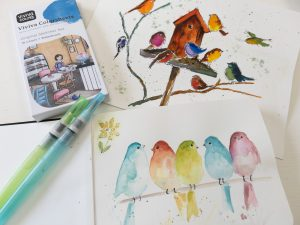 watercolor birds painted with Viviva colorsheets and Kuretake waterbrushes
