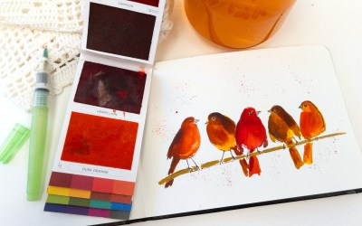 Cute Autumn Birds on a Wire in Watercolor