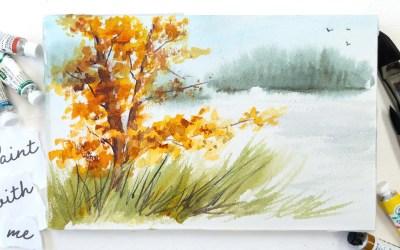 Autumn Lakeside Landscape for Fall