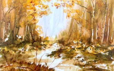 Autumn Woodland Scene in Big Brush Watercolour