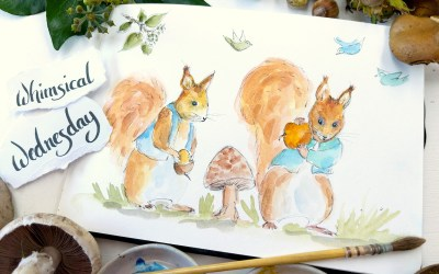 Paint Whimsical Red Squirrels with me