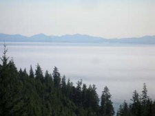 View from West Coast Road North of Jordan River looking towards the Olympic Peninsula in NW Washington State, USA