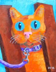 "Baby Blue Kitten, Diane Dyal, Acrylic, 11""x14"", 2012"