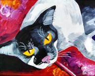 "Barney the Cat, Diane Dyal, Acrylic, 11""x14"", 2015"