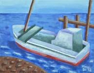 "Boat by the Beach, Diane Dyal, Acrylic, 11""x14"", 2012"
