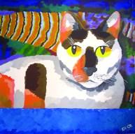 "Calli Cat in the Tub, Diane Dyal, Acrylic, 30""x30"", 2008"