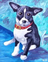 "Checkered Flag Dog, Diane Dyal, Acrylic, 11""x14"", 2015"