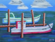 "Double Oyster Boats, Diane Dyal, Acrylic, 11""x14"", 2012"