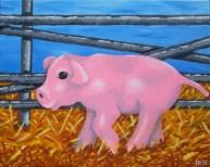 "Green Acres' Arnold Ziffel, Diane Dyal, Acrylic, 16""x20"", 2013"