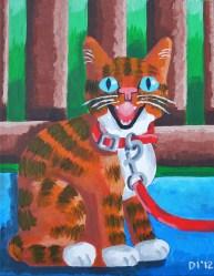 "Kitten on a Leash, Diane Dyal, Acrylic, 11""x14"", 2012"