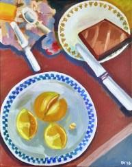 "Lemons and Toast, Diane Dyal, Acrylic, 16""x20"", 2016"