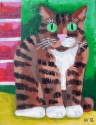 """Stocky Cat, Diane Dyal, Acrylic, 11""""x14"""", 2012"""