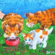 "The Citrus Family Eats Lunch, Diane Dyal, Acrylic, 5""x5"", 2014"