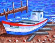 """The Noble Cause Oyster Boat, Diane Dyal, Acrylic, 11""""x14"""", 2012"""