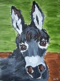 """Willy Nilly Donkey, Diane Dyal, Acrylic, 16""""x20"""", 2014"""
