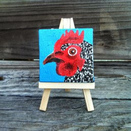 """Mini Chicken by Diane Dyal copyrighted 2-1/2"""" square"""