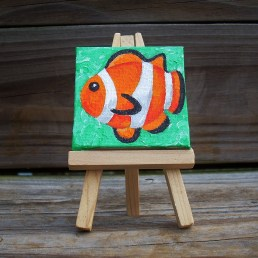 """Mini Clownfish by Diane Dyal copyrighted 2-1/2"""" square"""
