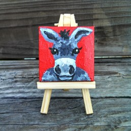 """Mini Donkey by Diane Dyal copyrighted 2-1/2"""" square"""