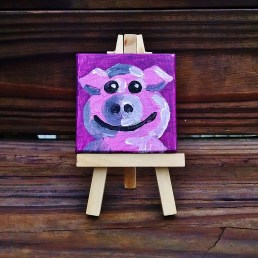 """Mini Pig by Diane Dyal copyrighted 2-1/2"""" square"""