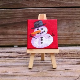 """Mini Snowman by Diane Dyal copyrighted 2-1/2"""" square"""