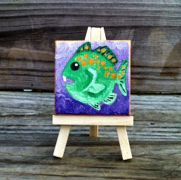 """Mini Spotted Trout by Diane Dyal copyrighted 2-1/2"""" square"""