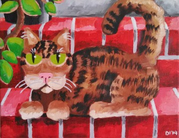 "Kittilea is Home by Diane Dyal, 11""x14"" Acrylic, Custom Pet Portrait"