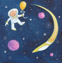 Space Giftwrap Repeat - Watercolor colored pencil   Diane Gronas