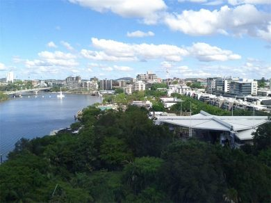 View from Wheel of Brisbane across parkland and downriver
