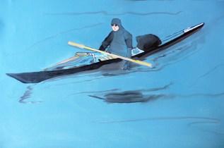 Sketch Inuit and Kayak Kangerlussuaq Sondre Stromfjord Western Greenland 18x24