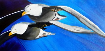 Tandem Flying Svalbard 10x20 - Oil on Canvas
