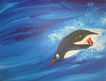 Penguin Hop Antarctica Peninsula 18x24