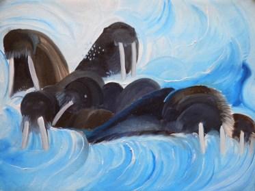 Walrus Charge Apollonov-Stoliczka Islands Franz Josef Land-18x24