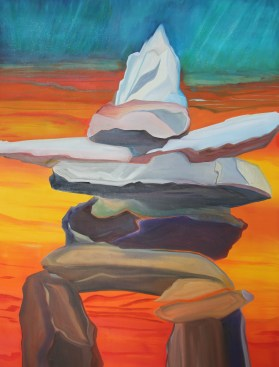 Inukshuk Rising 48x36 Mixed Media North West Passage Canada