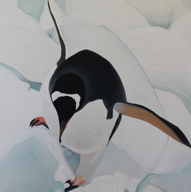 Life is a Balancing Act 36x36 Acrylic and Oil on Canvas Fish Islands Antarctica