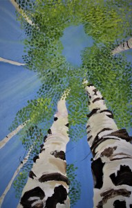 Lying Down Looking up 48x30 Mixed media Cranbrook British Columbia