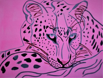 Sketch A Lying Leopard 18x24 Mixed media Botswana