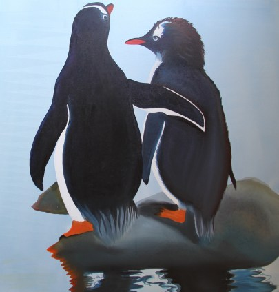 True Love 36x36 Acrylic and Oil on Canvas Port Lockroy Antarctica