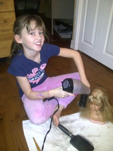 Hannah - drying and styling hair